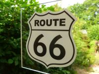 "Route 66 Black & Off White Window Sticker. 3"" or 4""."
