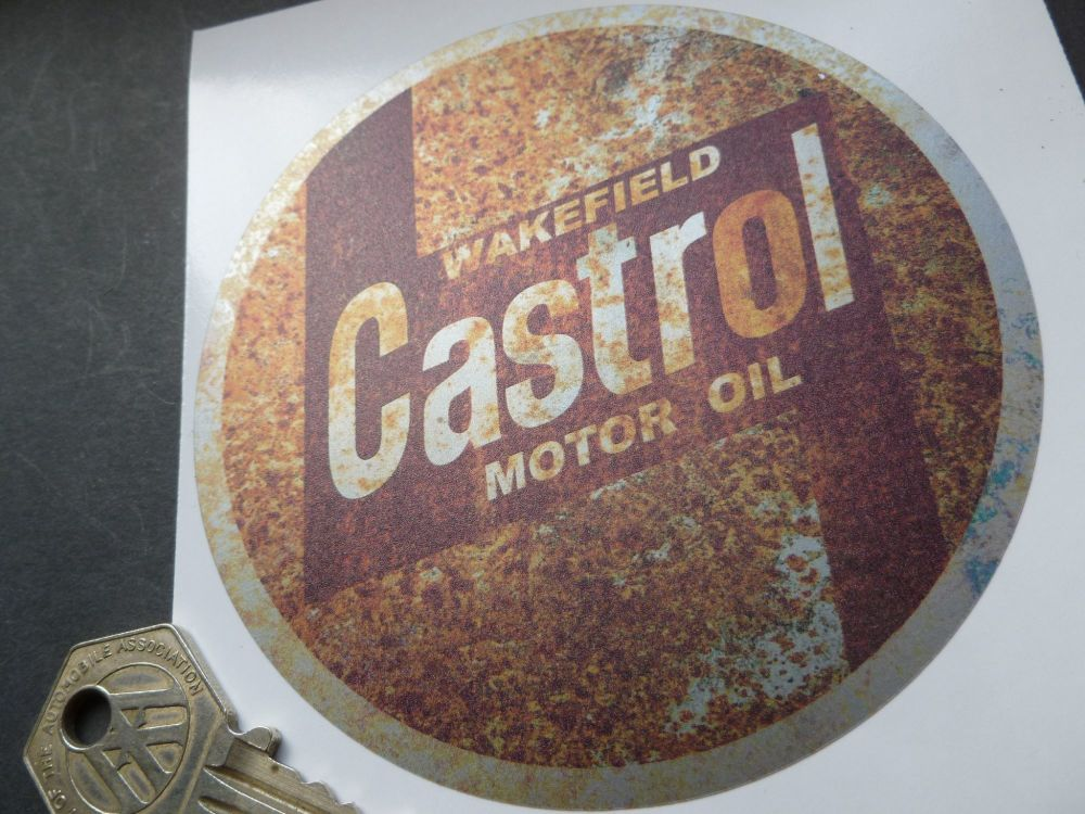 """Castrol Motor Oil Rusty Style Stickers. 4"""" Pair."""