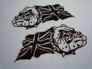 "British Bulldog & Union Jack Black & Clear Stickers. 3"", 4"" or 6"" Pair."