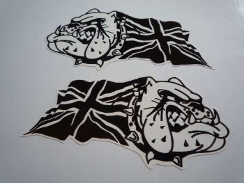 "British Bulldog & Union Jack Black & White Stickers. 4"" Pair."