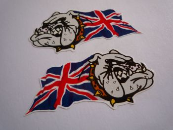 "British Bulldog & Union Jack Colour Stickers. 2"", 3"", 4"" or 6"" Pair."