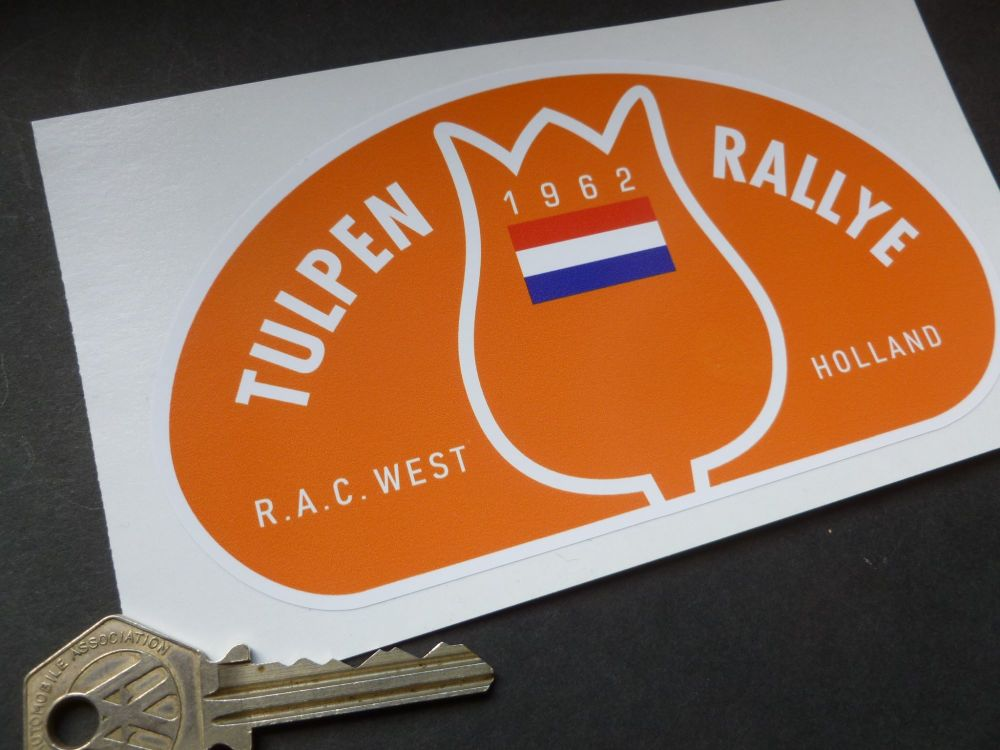 "Tulip Rally Tulpenrallye 1962 Dutch Flag Rally Plate Sticker. 6""."