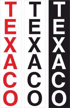 """Texaco Vertical Text Cut Vinyl Sticker. 23""""."""