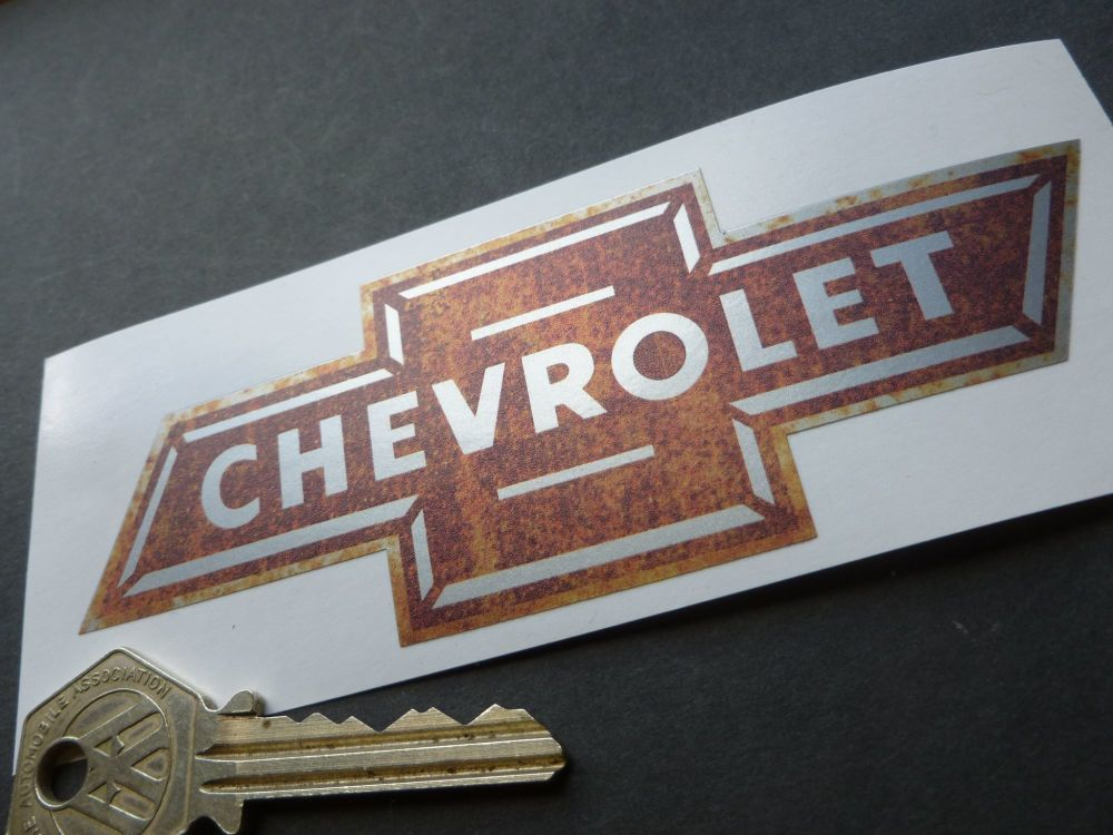 "Chevrolet Dicky Bow Rusty Style Sticker. 5""."