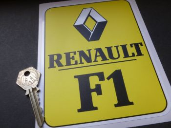 """Renault F1 Black, Yellow & White Oblong Stickers. 6.25"""" Pair."""
