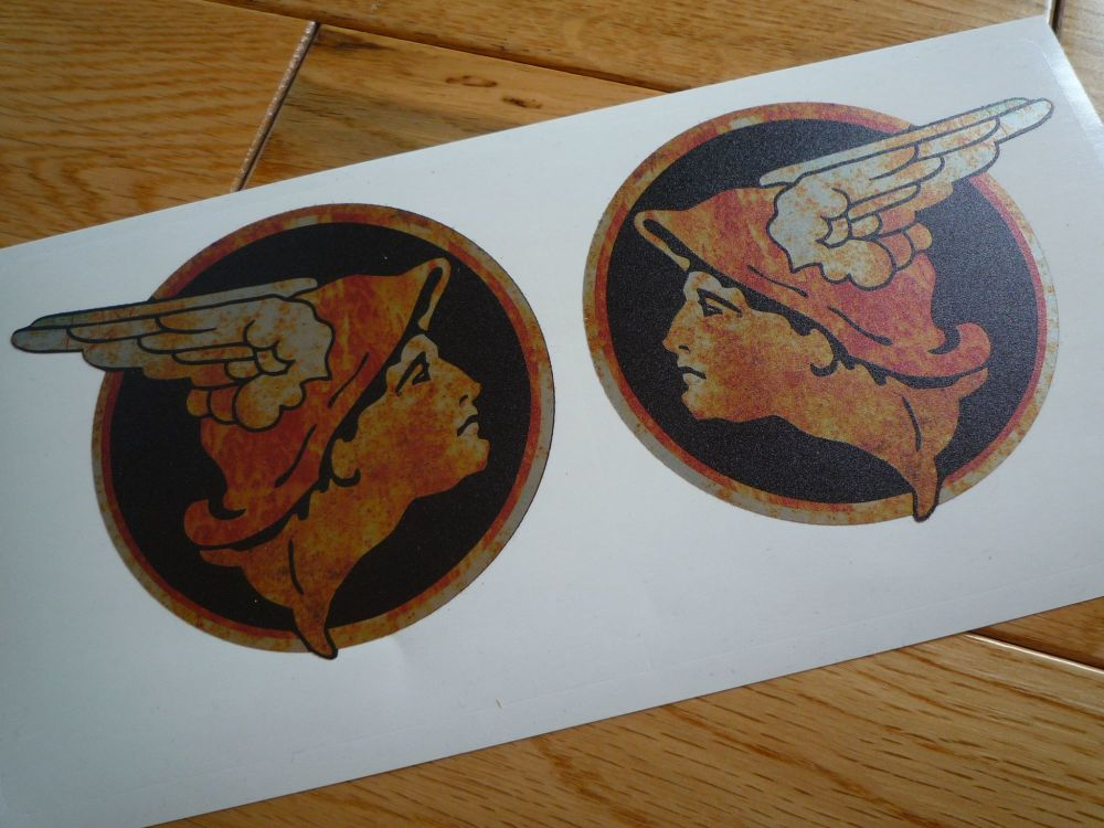 """National Benzole Mercury Winged Helmet Rusty Style Stickers. 2.25"""" or 4"""" Handed Pair."""