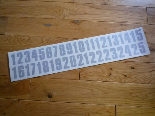 Cut Number Stickers. 1 - 25. 50mm Tall.