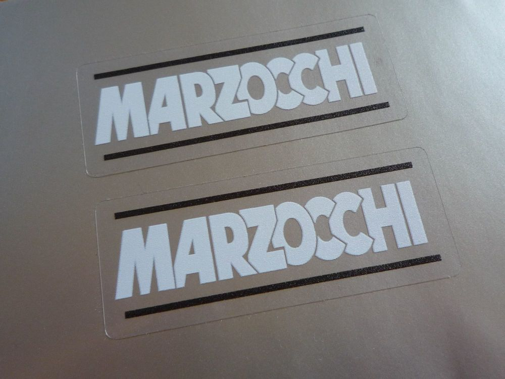 """Marzocchi White, Black, & Clear Stickers. 2.25"""" Pair."""