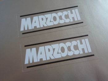 "Marzocchi White, Black, & Clear Stickers. 2.25"" Pair."