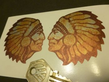"Indian Chief Rusty Style Stickers. 2.25"" Handed Pair."