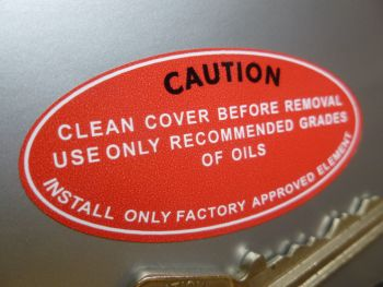 """Power Steering, Use Approved Oil to Cover Element Later Style Sticker. 1136. 2.25""""."""