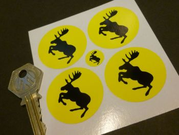 Volvo Black & Yellow Prancing Moose Wheel Centre Stickers. Set of 4. 38mm.