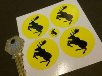 Volvo Black & Yellow Prancing Moose Wheel Centre Stickers - Set of 4 - 38mm