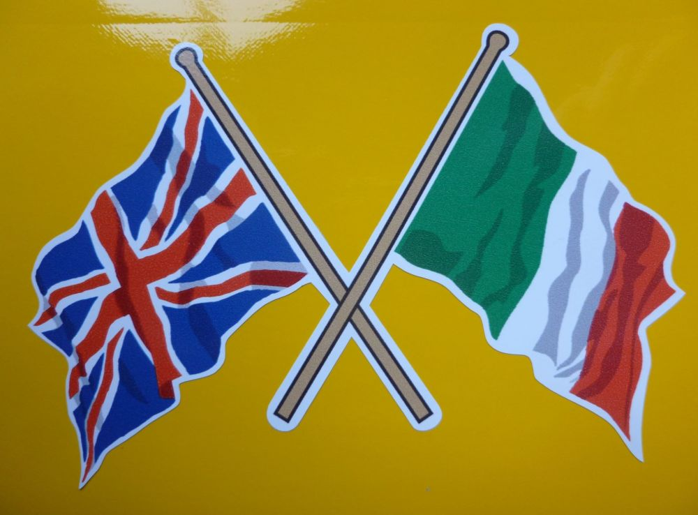 "Crossed Union Jack & Italian Wavy Flag Sticker. 4""."