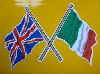 "Crossed Union Jack & Italian Wavy Flag Sticker. 4""."