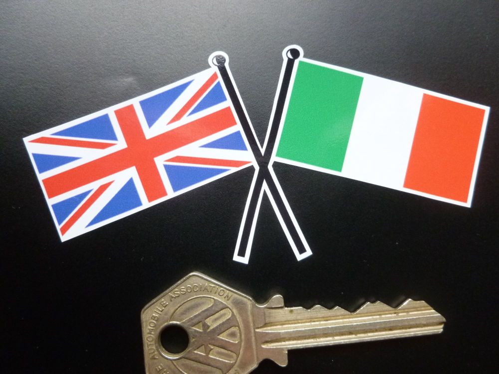 "Crossed Union Jack & Italian Oblong Flag Sticker. 4""."