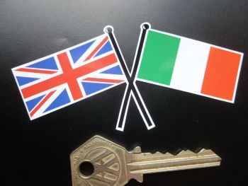 "Crossed Union Jack & Italian Oblong Flag Sticker. 4""."