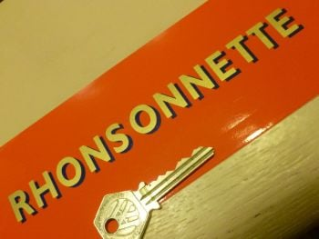 "Rhonsonnette Cut Text Gold and Dark Blue Stickers. 6.5"" Pair."