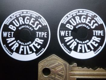 Burgess Air Filter Stickers. 40mm Pair.