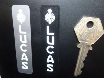 "Lucas Vertical Text Battery Stickers No.37. Various Colours. 3""."