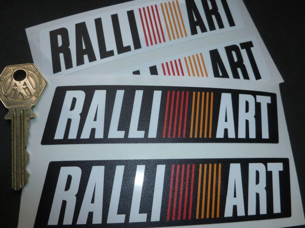 "Mitsubishi Ralliart Parallelogram Shaped Stickers. 5"" Pair."