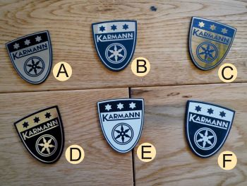 "Karmann Shield Style Self Adhesive Car Badge. 1.75""."
