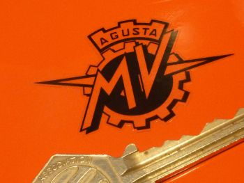 "MV Agusta Small Black & Clear Sticker. 2""."