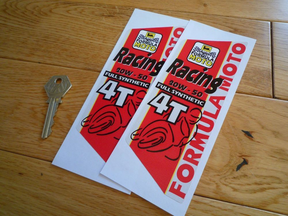 "Agip Formula Moto 4T Vertical Stickers. 6"" Pair."