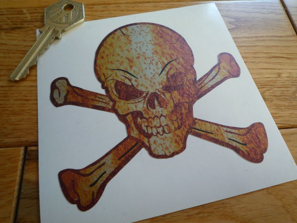 "Skull & Crossbones Jolly Roger Rusty Style Sticker. 4""."