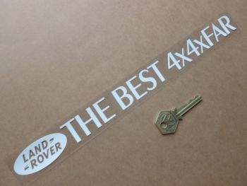 """Land Rover 'The Best 4x4xFar' White Text & Logo Window Sticker. 12""""."""
