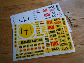 Race Car Full Dashboard Stickers. Set of 76.