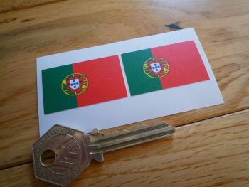 Portugal Drivers Name Style Flag Stickers. 40mm x 25mm Pair.