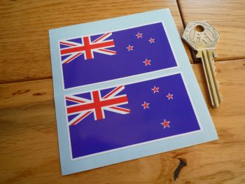 "New Zealand Oblong Flag Stickers. 3"" Pair."
