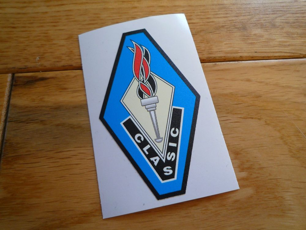 Classic Motor Crafts Flaming Torch Logo Fibre Glass Bermuda Hardtop Sticker. 45mm or 70mm.