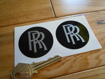 Rolls Royce RR Plain Black Wheel Centre Style Stickers. 25mm or 50mm Pair.