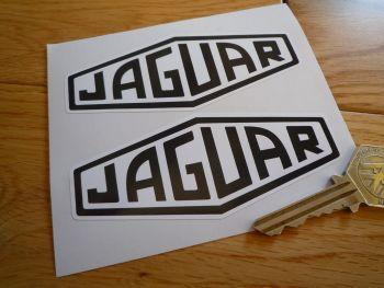 "Jaguar Lozenge Black & White Stickers. 4"" Pair."