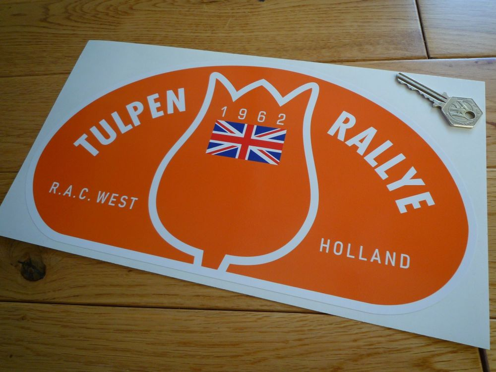 "Tulip Rally Tulpenrallye 1962 Orange Union Jack Rally Plate Sticker. 12""."