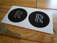 Rolls Royce RR Black Shaded Style Wheel Centre Style Stickers. 25mm or 50mm Pair.