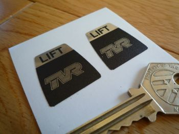 "TVR Kangol Style Seat Belts Lift Shaped Stickers. 1"" Pair."