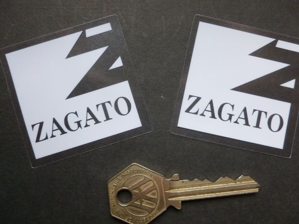"Zagato Milano White & Clear Self Adhesive Window Stickers. 2"" Pair."