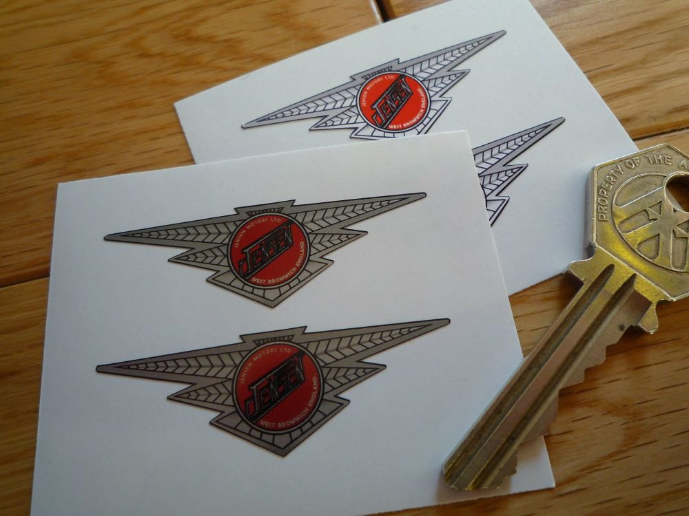 "Jensen Motors Ltd Winged Logo Stickers. 2"" Pair."