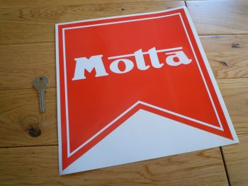 "Motta Logo Red & White Shaped Sticker. 8"" or 10""."