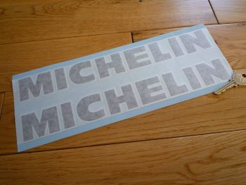 "Michelin Cut Vinyl Black with White Outline Taller Style Text Stickers. 12"" Pair."