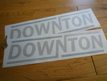 "Downton Gold & Black Text Cut Vinyl Stickers. 18"" Pair."