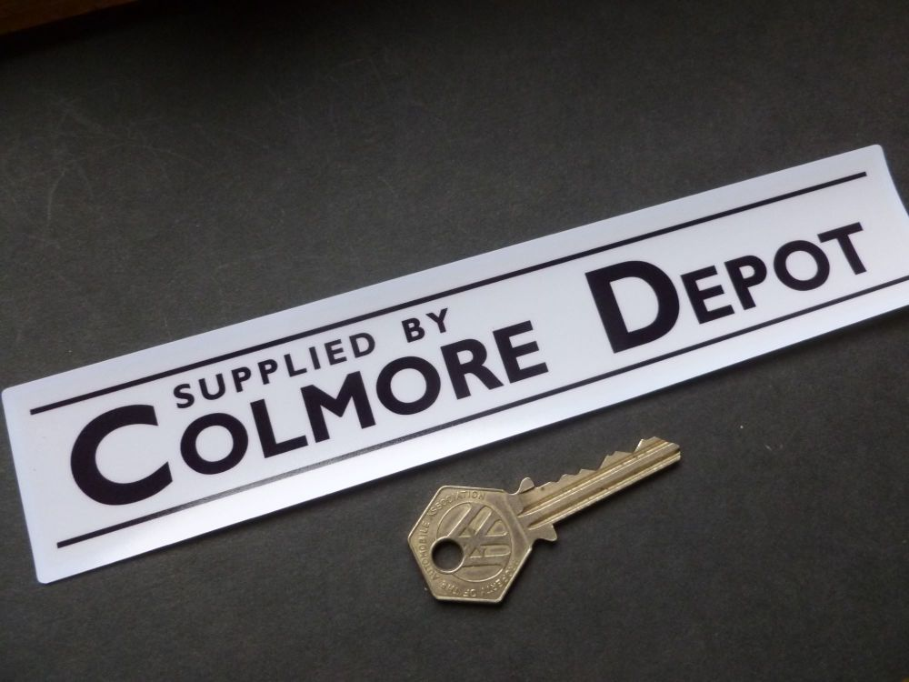 "Colmore Depot Dealers Window Sticker. Black & White or Gold & White. 8.5""."