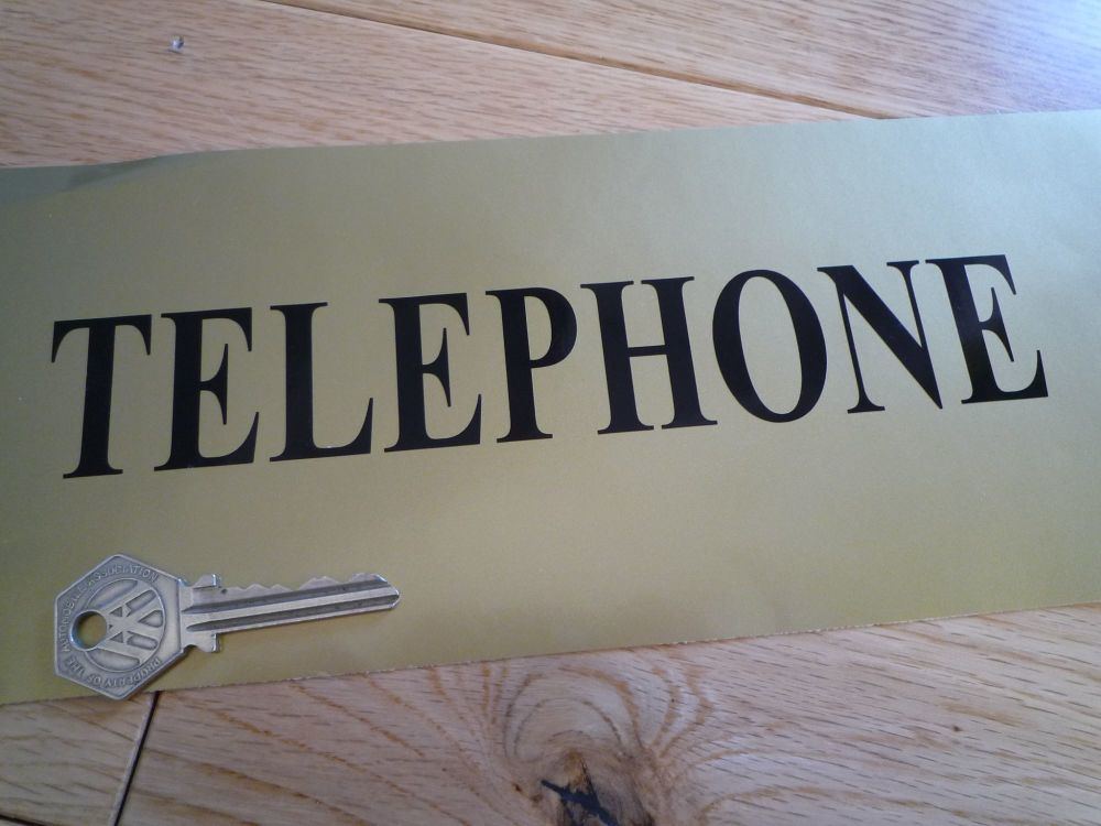"Telephone Black Cut Vinyl Sticker. 8""."