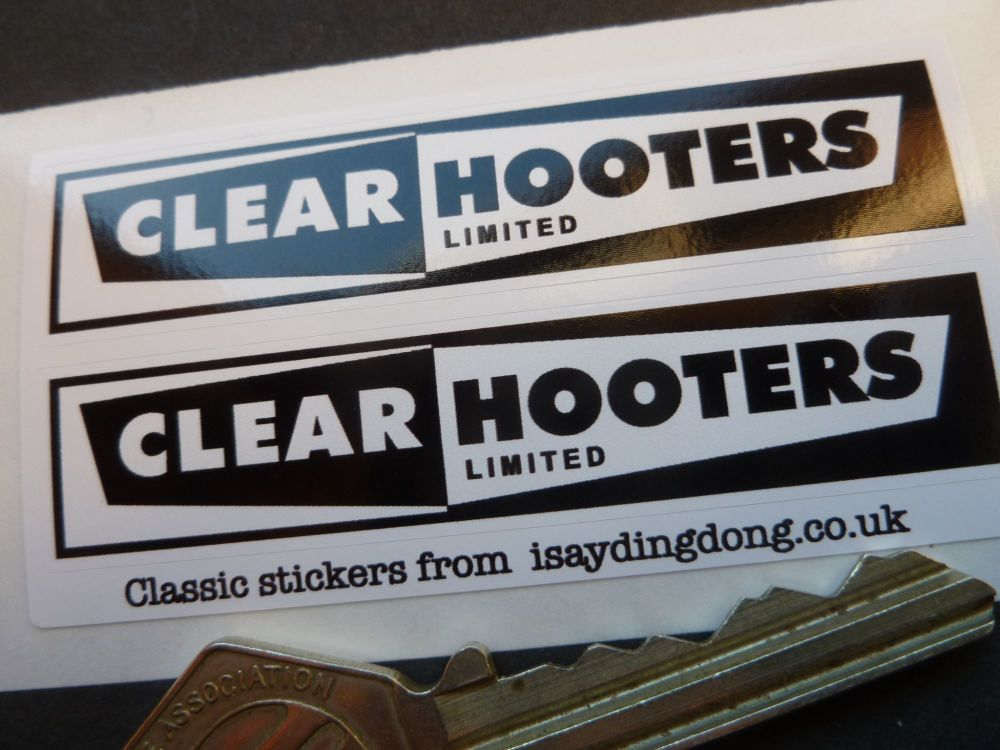 Clear Hooters Birmngham and Bedworth Oblong Stickers. 70mm Pair.