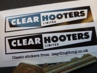 Clear Hooters Birmingham and Bedworth Oblong Stickers. 70mm Pair.