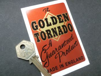 "Golden Tornado, A Guaranteed Product, Sutty Foot Pump Sticker. 3.75""."