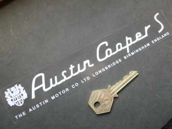 "Austin Mini Cooper S White on Clear Window or Car Body Sticker. 8""."
